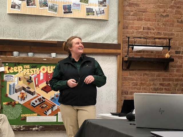 Erika Parker, Advanced Agrilytics, speaks to farmers at a Livingston County meeting last month / CIFN photo.