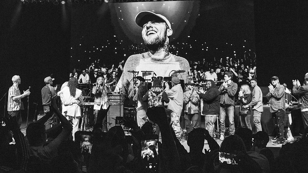 Artists take the stage during the Mac Miller Tribute concert on October 31st