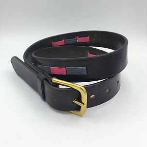 Hand stitched coloured belt
