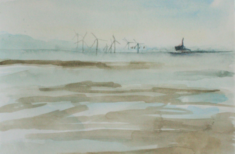 Crosby Beach and turbines (Watercolour 20 x 20 cm)