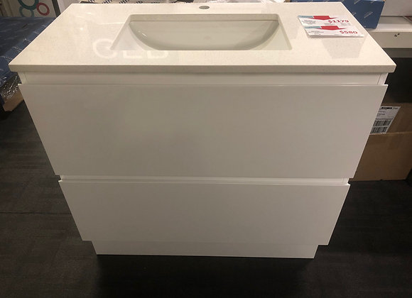 900 Floor Vanity with Stone Top and Under Counter Basin