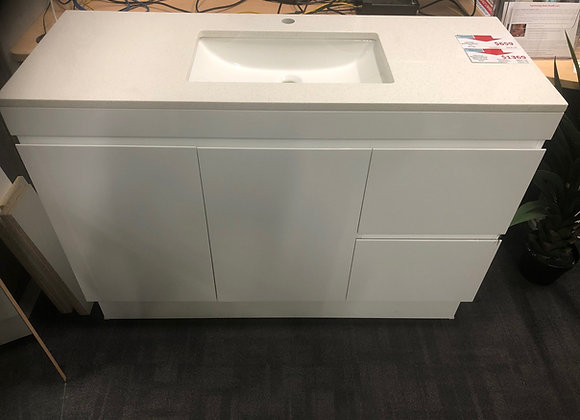 1200 Floor Vanity with Stone Top and Under Counter Basin