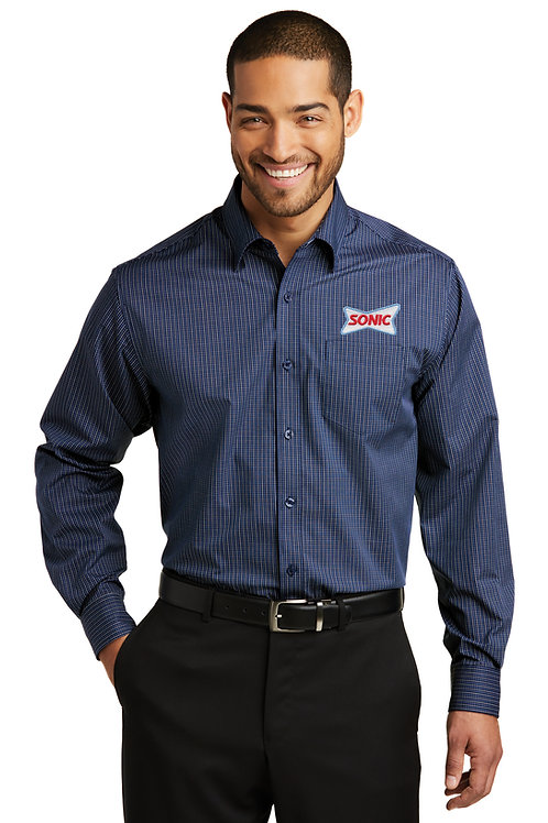 W643 MICRO TATTERSALL LONG SLEEVE EASY CARE SHIRT