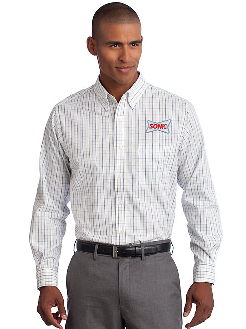 S642 TATTERSALL LONG SLEEVE DRESS SHIRT