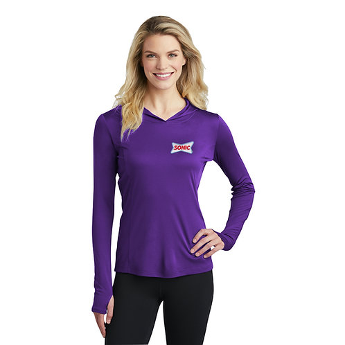 LST358 LADIES LIGHTWEIGHT STRETCH COMPETITOR HOODED PULLOVER