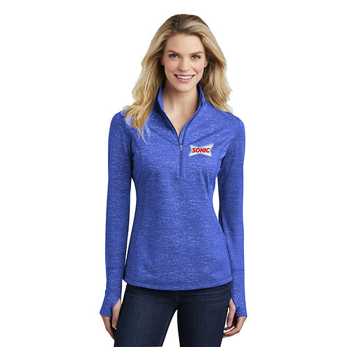 LST855 LADIES STRETCH REFLECTIVE HEATHER 1/2 ZIP PULLOVER