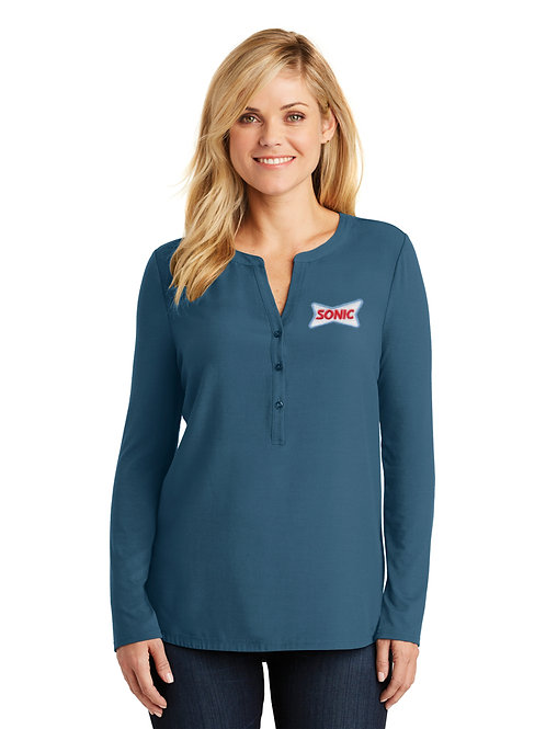 LK5432 PA LADIES CONCEPT HENLEY SONIC TUNIC TOP