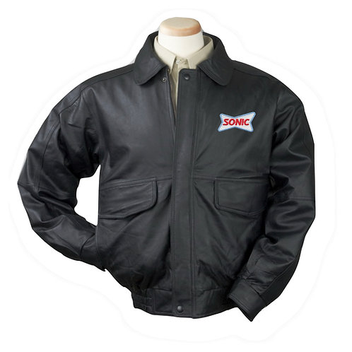 BB1010T TALL CLASSIC BLACK LEATHER BOMBER JACKET