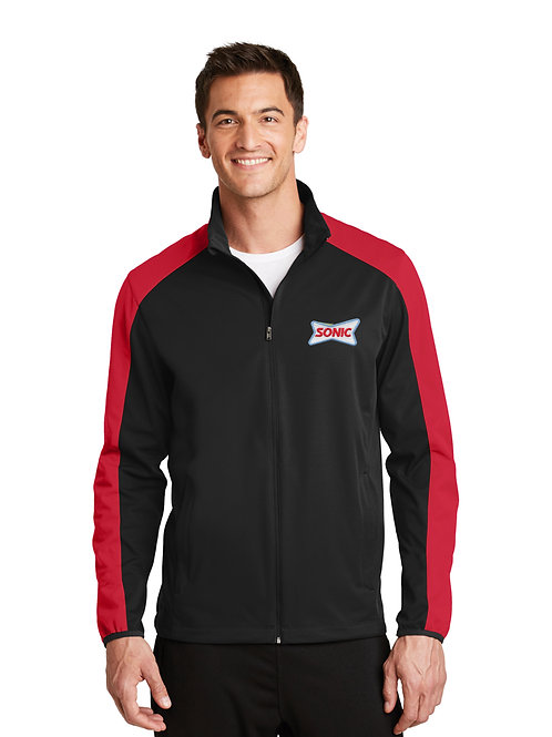 J718 FULL ZIP ACTIVE COLORBLOCK SOFT SHELL JACKET