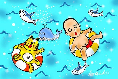 POSTCARD「ぷかぷかラッキー!(No.122)」5枚セット