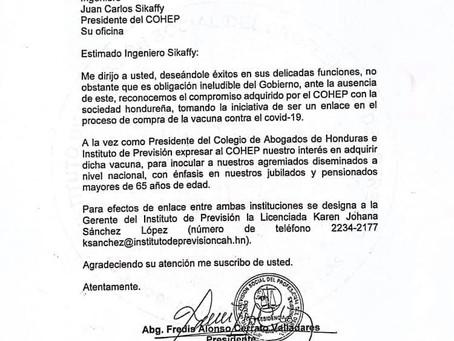 ¡IMPORTANTE! Presidente del CAH e Instituto de Previsión, Abogado Fredis Cerrato, envía carta de int
