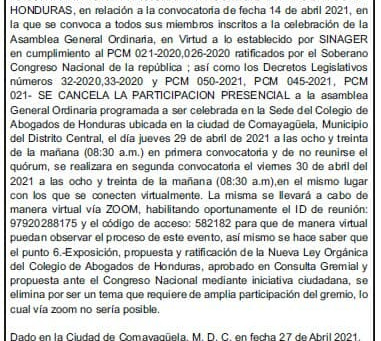 La asamblea ordinaria del CAH el 30/04/21 será totalmente VIRTUAL, en virtud de lo establecido por S