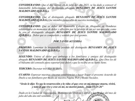 El Colegio de Abogados de Honduras lamenta el sensible fallecimiento del distinguido Abogado BENJAMI