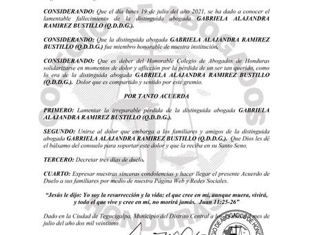 El Colegio de Abogados de Honduras lamenta el sensible fallecimiento de la distinguida Abogada GABRI