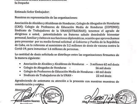 Municipalidades de Honduras y gremios profesionales, entre ellos el CAH solicitan compra al Gobierno