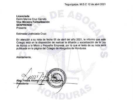 El Colegio de Abogados de Honduras en atención a la solicitud presentada por el Servicio Nacional de