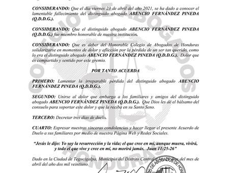 El Colegio de Abogados de Honduras lamenta el sensible fallecimiento del distinguid Abogado ABENCIO
