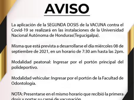¡Aplicación SEGUNDA DOSIS de la VACUNA contra el Covid-19!