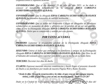 El Colegio de Abogados de Honduras lamenta el sensible fallecimiento de la distinguida Abogada EDNA