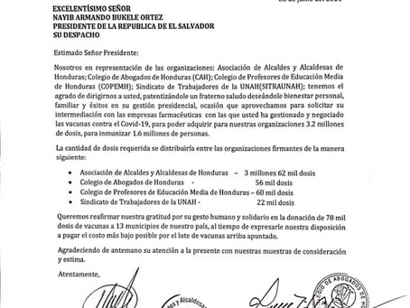 También se dirigió SOLICITUD de INTERMEDIACIÓN al Gobierno de El Salvador para la COMPRA de VACUNAS