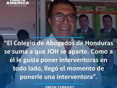 El presidente del Colegio de Abogados de Honduras (CAH), Fredis Cerrato, se sumó este martes a las v