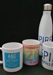 Personalised mugs and water bottles