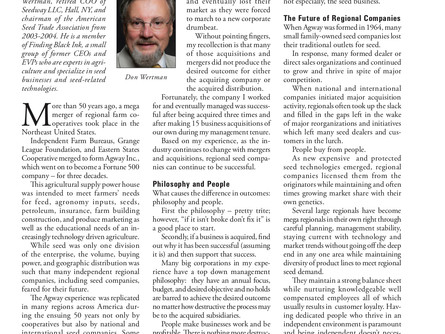 Ag Expert Don Wertman's Take on Regional Seed Companies Featured in Seed Today Magazine
