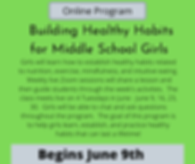 Healthy habits for middle school girls program