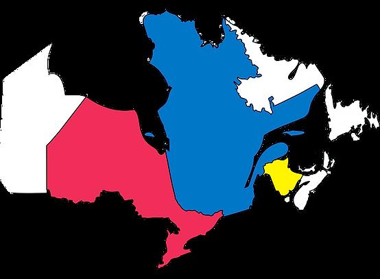 Province de Québec, Ontario et Nouveau-Brunswick