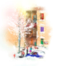 illustration, landscape, painting, Ben Liu, Montreal, Mtl, urbansketch, Snow, neige, winter,