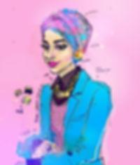 illustration, fashion, painting, Ben Liu, Montreal, Mtl, portrait, Montrealer, fashion, streetstyle, urbansketch, Ben Liu, Muslim, musulman, girl, woman, turban, Dalila Awada