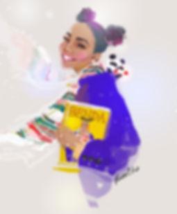 illustration, fashion, painting, Ben Liu, Montreal, Mtl, portrait, Montrealer, fashion, streetstyle, urbansketch, Ben Liu, purple winter coat, magazine, panda, Benda, black girl,