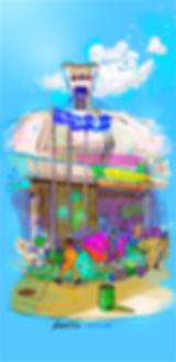 illustration, landscape, painting, Ben Liu, Montreal, Mtl, urbansketch, summer, stade olympiques, pieix, stade, olympic stadium, panda, été