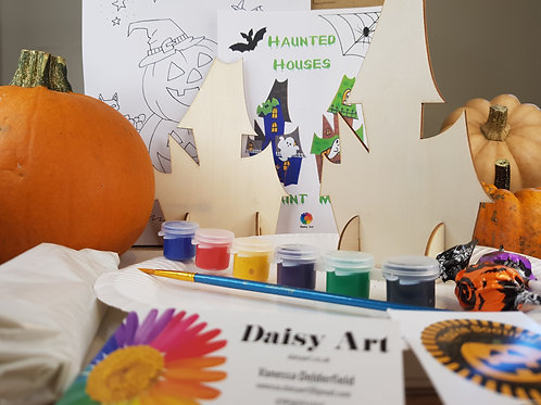 Paint your own Wooden Haunted Houses Activity Pack