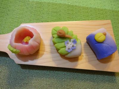 初夏の練り切り 牡丹・紫陽花とカタツムリ、蛍