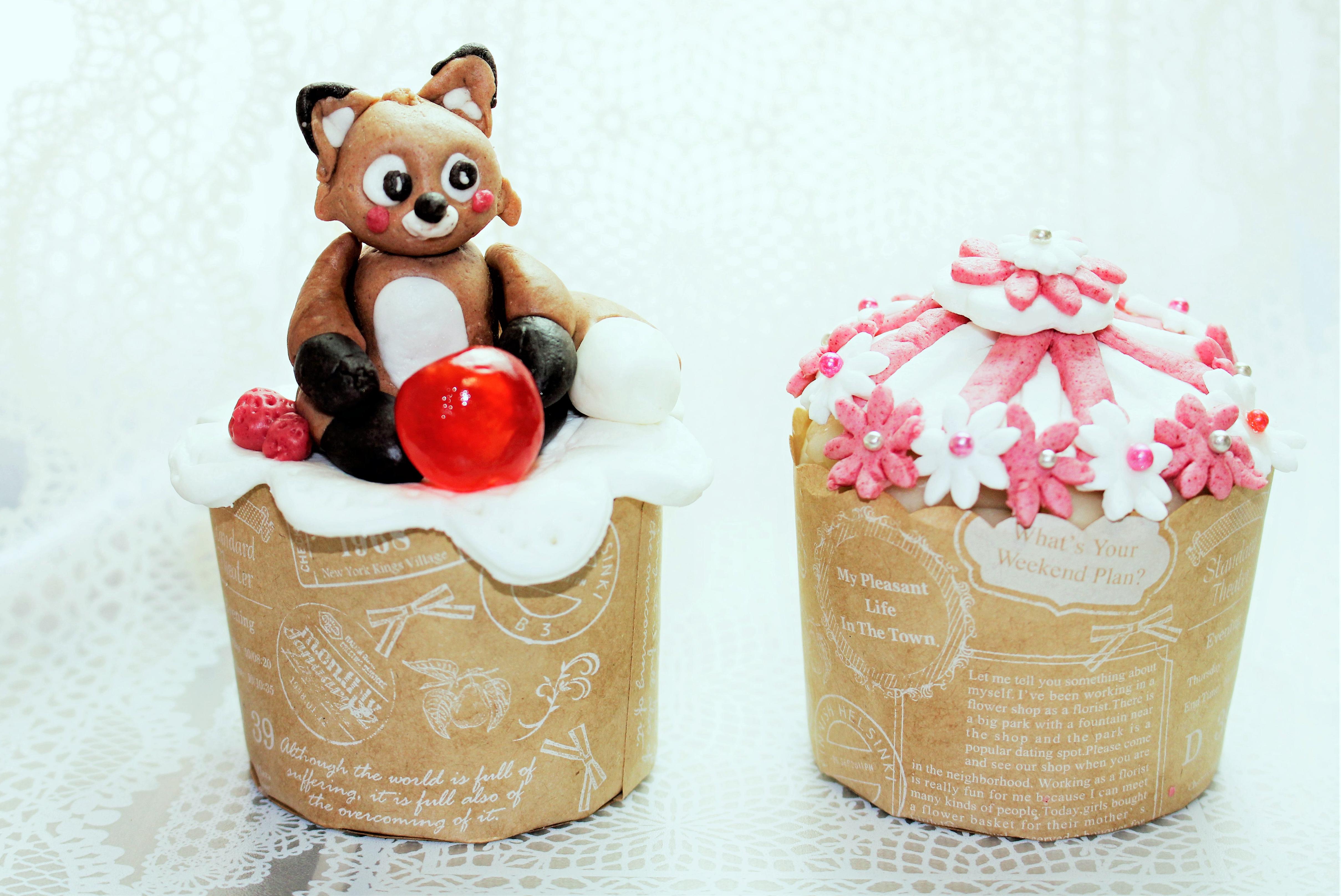 たぬきのカップケーキ