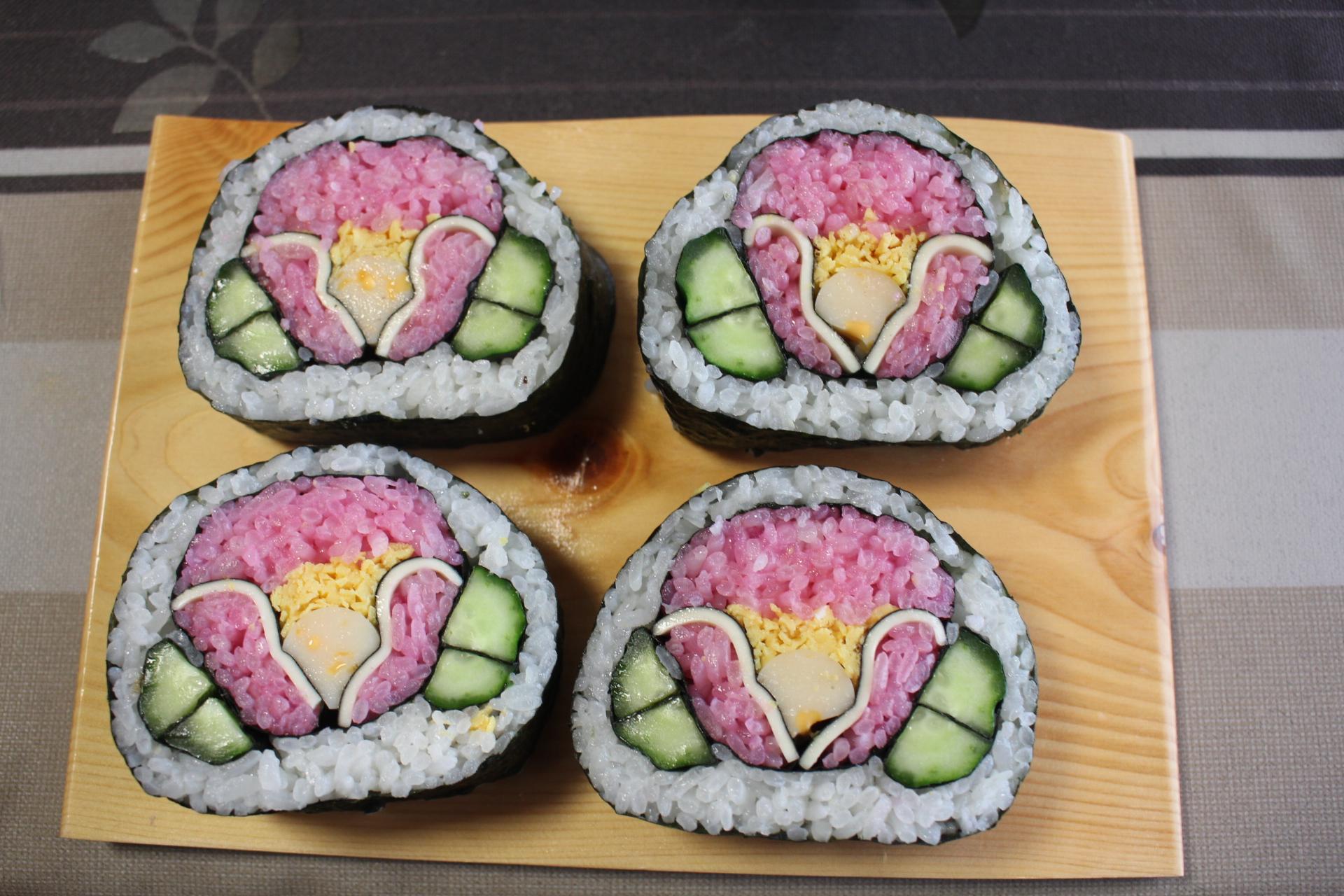 山茶花 飾り巻き寿司