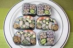 飾り巻き寿司 かたつむりと紫陽花