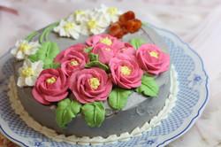 山茶花と水仙のあんフラワー