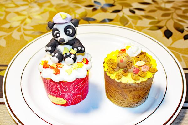 秋パンダのカップケーキ