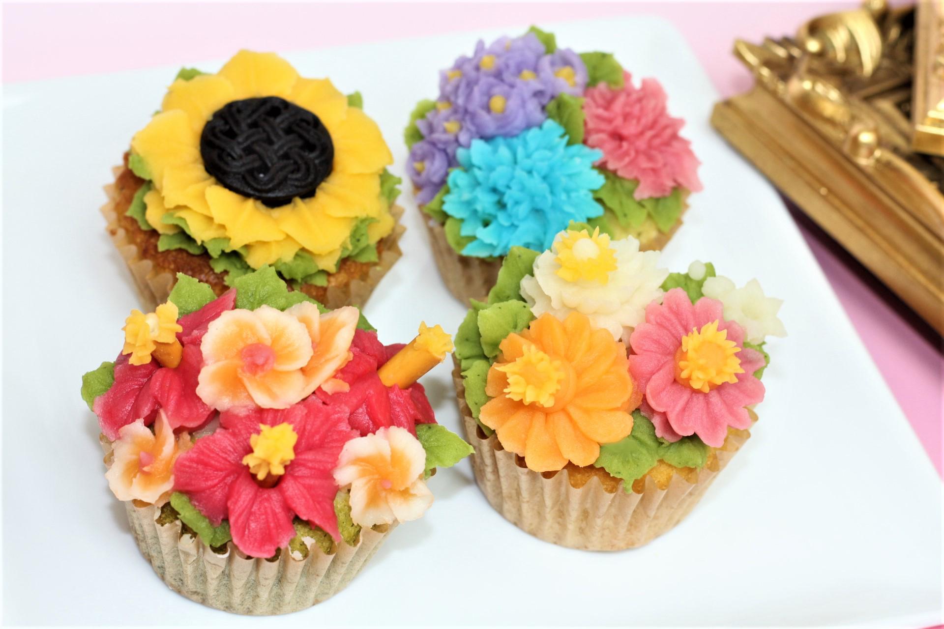 フラワーカップケーキ ハイビスカス、向日葵