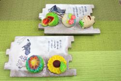 練り切り スイカ、うちわ、蚊取り線香、向日葵、花火