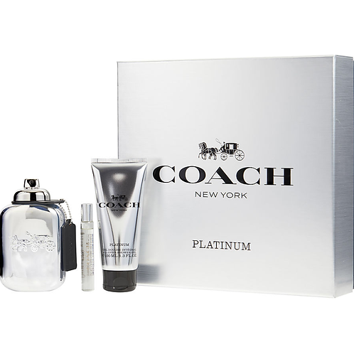 Coach New York Platinum 3pc Gift Set for Men by Coach EDP 3.3oz