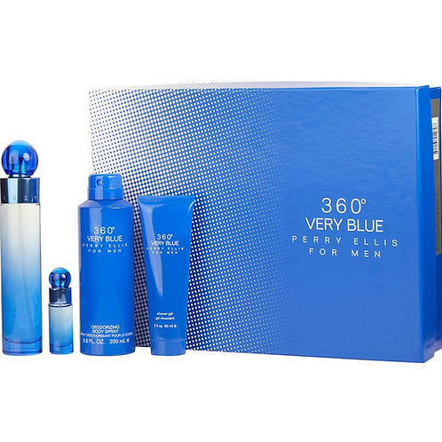 Perry Ellis 360 Very Blue for Men 4pc Gift Set EDT