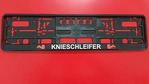 """Kennzeichenhalter mit """"Knieschleifer und Logo"""" gedruckt"""