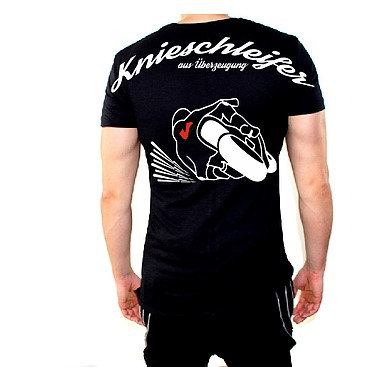 Knieschleifer T-Shirt mit dem Knieschleifer hinten drauf