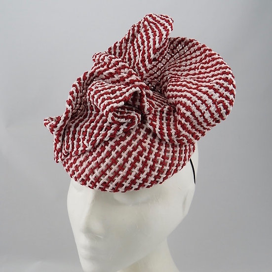 Strawberry Ripples - Red & White Straw Headpiece