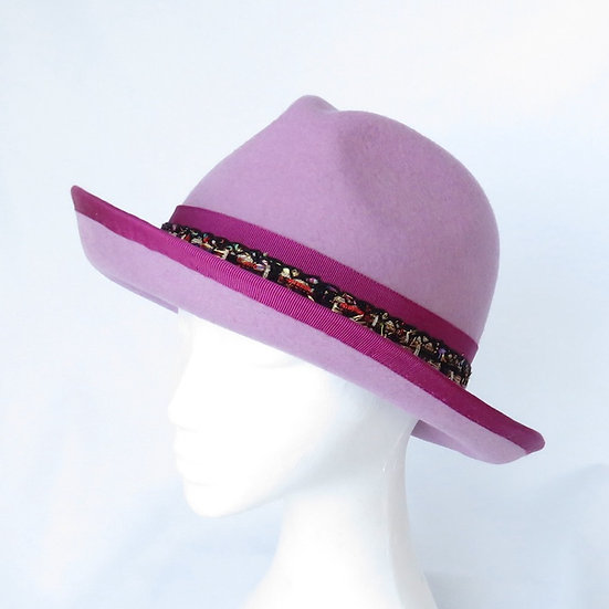 Dusty Lilac/Mauve and Pink Funky Felt Fedora