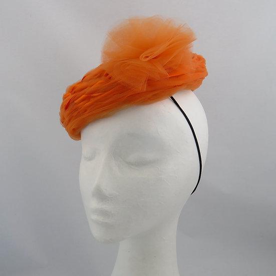 Buloke Sunset - Orange Tulle and Ribbon Hat