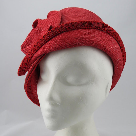 Scarlet Lady - Red Straw Cloche